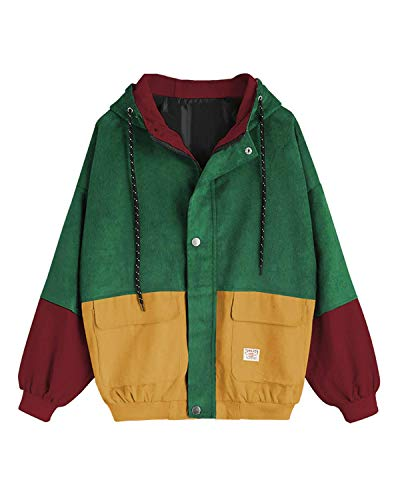 ENIDMIL Women Casual Jacket Long Sleeve Corduroy Outwear Hoodie Zip Button Up Pockets Tops Patchwork(Green,L) ()
