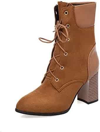 86f4fe915 Women Ankle Booties Lace Up Block High Heel Pointed Toe Autumn Winter  Knight Martin Boots Punk