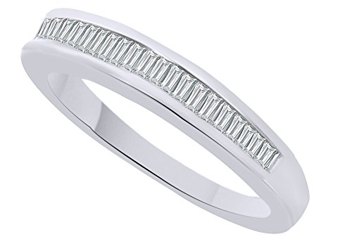 White Natural Diamond Baguette Cut Wedding Band Ring in 10k Solid White Gold (0.15 Cttw) Ring Size - 8