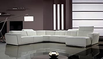 VIG Furniture Tempo White Top Grain Italian Leather Living Room Sectional  Sofa with Adjustable Headrests