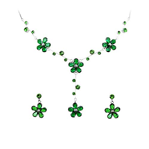 Earrings Floral Crystal Necklace (Faship Gorgeous Green CZ Crystal Floral Necklace Earrings Set)