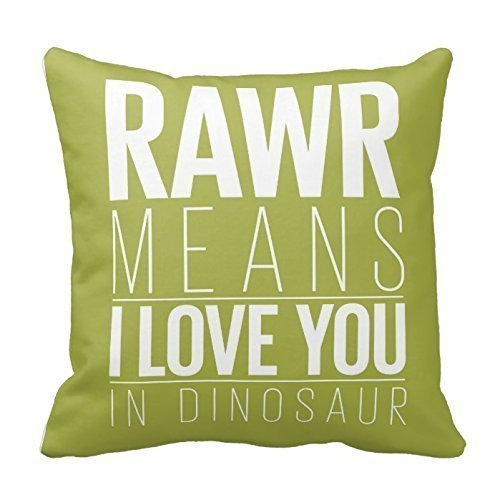 (Ashasds Rawr Means I Love You In Dinosaur Decorative Throw Pillow Covers with Zips Accent Pillows Case for Girls Family Children Size: 18x18 Inches Two Sides)