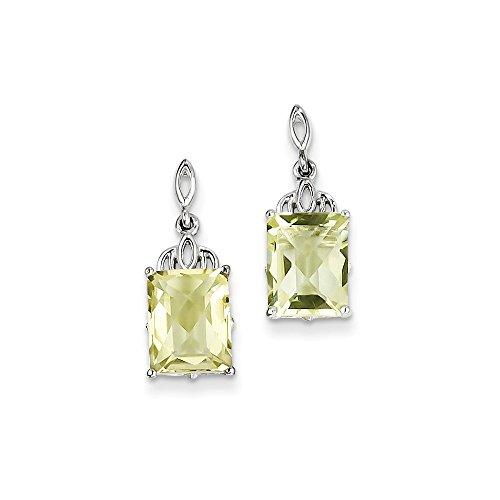 Sterling Silver Lemon Quartz Earrings. Gem Wt- 4.09ct (0.5IN x 0.3IN )