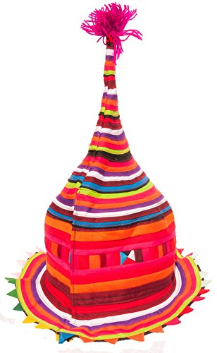 Festival Hat Tribal Hill Tribe Cone or Flat Handmade Party Rave Hat (Tall (Tall Cone Flat)