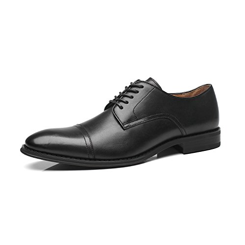 La Milano Mens Leather Updated Classic Cap Toe Oxfords Lace Dress Shoes, black, 11 D(M) -