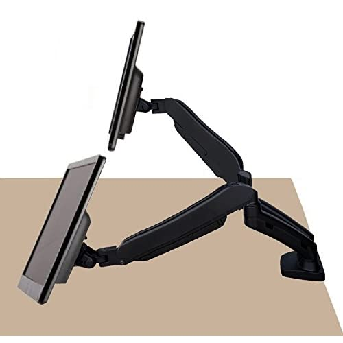 "EZM Dual Hight Adjustable Full Motion Gas Spring Monitor Mount Stand Desktop Clamp with Grommet Mount Option fits 13"" - 27"" (002-0031)"