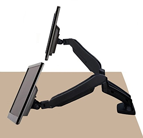 EZM Dual Hight Adjustable Full Motion Gas Spring Monitor Mount Stand Desktop Clamp with Grommet Mount Option fits 13