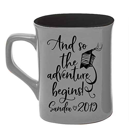 Personalized Coffee Mug College/High School Graduation Gifts For Him Her Men Women |And so The Adventure Begins Mug Ceramic 10oz - 7 Different Colors - Personalize with Name Date Year #C22