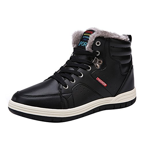 Lining Sneaker Walking 7 Leather Boots Shoes plus Plush Men's size 5 Winter Boots Lining hibote Cotton Worker Warm 13 Black Shoes US Shoes Outdoor Ankle Winter Casual ZUdwU