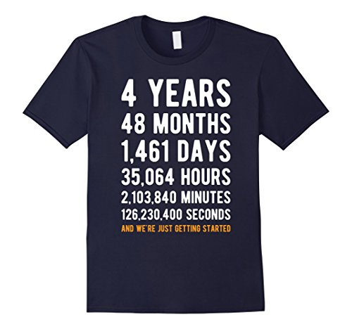 Mens 4th Anniversary Gift T Shirt Four Year Marriage Tee XL Navy