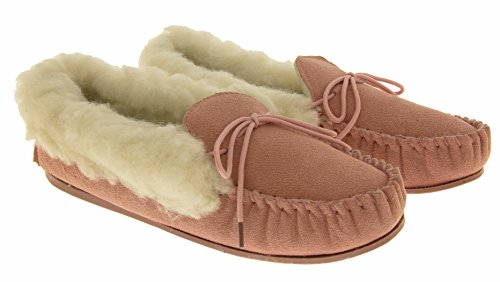 Lodgemok Cuff Taille Véritables Chaussettes chaussons Et Pour Femme Cuir 6 Daim 5 Pink Cuff 4 Laine 3 En Ankle 7 Wool 00PRrw