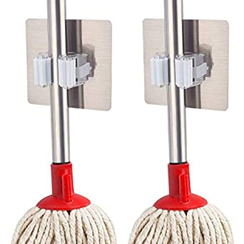 MeRaYo� Magic Sticker Series Self Adhesive Multifunction Wall Mounted Mop Broom Holder for Your Home, Kitchen and Wardrobe (Pack of 2)