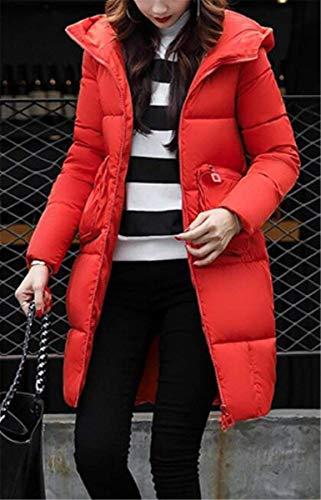 Mujer Manga Cremallera Invierno Con Acolchado Abrigos Abrigo Termica Otoño Capa Bolsillos Naranja Retro Casual Largos Capucha Acolchada Larga Chaqueta qr7q1