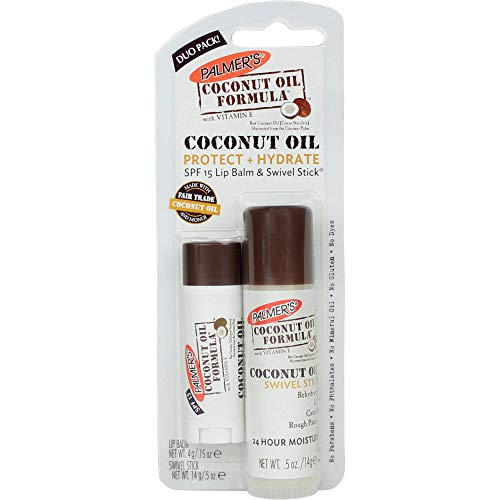 Palmer's Coconut Oil Formula Protect & Hydrate Duo Pack - SPF 15 Lip Balm & Multi-Purpose Swivel Stick (Coconut Oil Or Cocoa Butter For Skin)