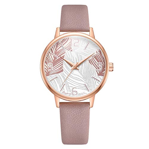 (LUXISDE Watch Women Fashion Simple Digital Exaggerated Scale Leaf Dial Belt Quartz Female Watch D)
