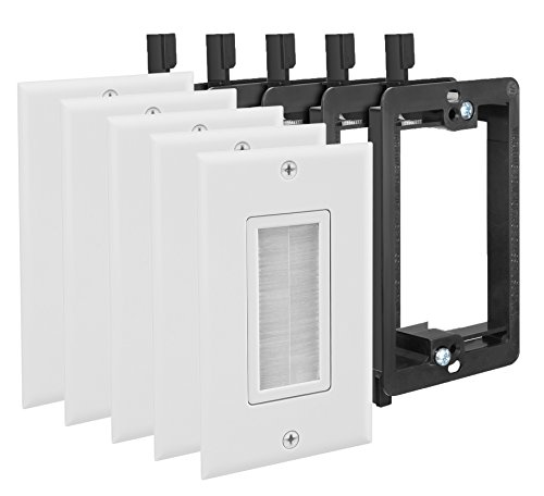 Fosmon (10 Pack) Single Gang Wall Plate, Brush Style Opening Passthrough Cable Plate with Low Voltage Mounting Bracket (Best Weekend Trips From Sf)