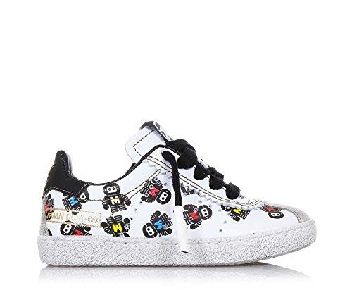 MOMINO - Chaussure à lacets blanche et noire en cuir, caractérisée par des matériaux d'haute qualité, garçon, garçons