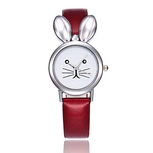 - MINILUJIA Analog Quartz Teens Girls Watch for Small Wrist Fashion Platinum Plated Charm Rabbit with PU Leather Strap Gold Tone (red)