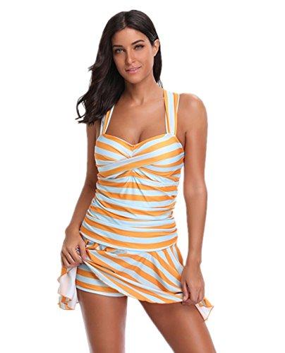 cd492591c21b59 iDrawl Vintage Badeanzug Damen one piece Badekleid Figurformend Retro  Bademode push up Badeanzüge Gr.34