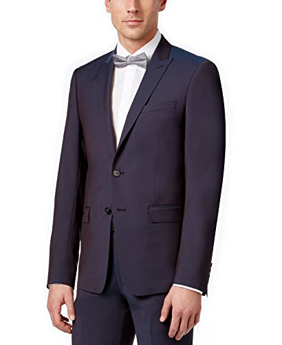 Calvin Klein Extra Slim Fit Wine Wool Peak Lapel 2 Piece Men's Suit (40 Short USA Jacket/33 Waist Pants)