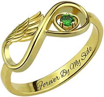 4a81a8ea28 Getname Necklace Personalized Angel Wing Infinity Heart Ring with Birthstone  Sterling Silver 925 Wedding Band Ring