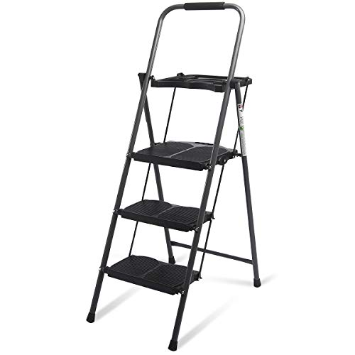 (Giantex 3 Step Ladder Folding Ladder Stool with Tool Platform 330 LBS Capacity Space Saving Foldable Ladder W/tray)
