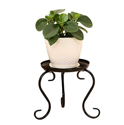 mkki Round Iron Display Stand Metal Craft Pedestal Stand for Fishbowl Vase Planter Potted Plant Flower Pot Censer Base Decoration Stand (Black)