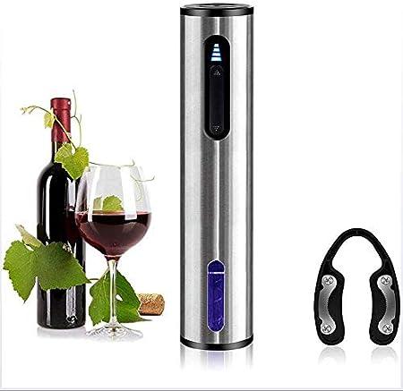 WANGIRL Abrelatas de Vino Eléctrico Juego de Regalo de Sacacorchos Eléctrico Profesional Recargable de Acero Inoxidable con Cortador de Aluminio, Cable de Cargador USB