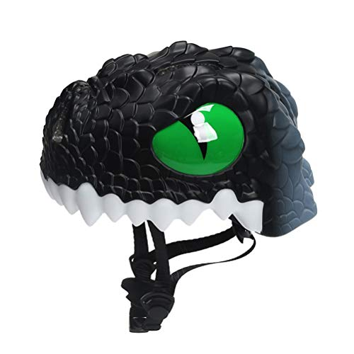Amazon.com : VORCOOL Kids Bike Helmet,Cartoon Dinosaur Childrens Sports Safety 3D Helmet Cycling Scooter Skating Bike Boys Girls(Black) : Sports & Outdoors