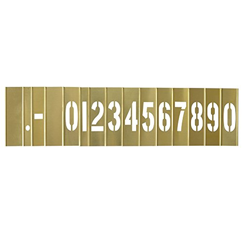 Deezio 2 Inch Brass Stencils Numbers, brass stencil for Paint - 15 Piece (Metal Etching Stencils)