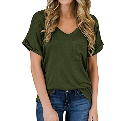 XJSGS Womens Summer Short Sleeve T Shirts V Neck Tunic Roll Up Tops Cute Tees Loose Fitted Henley Workout Shirts,Green,XL