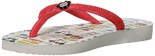Havaianas Girls' Slim Disney Cool Sandal Flip Flop, White/Ruby Red, 31/32 BR/2 M US Big - Kids Havaianas White