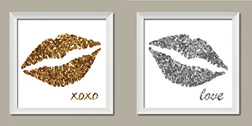 Fun, Popular Glitter Kiss; Gold and Silver Lips with XOXO and Love, Two 12x12in White Framed Prints; Ready to hang!