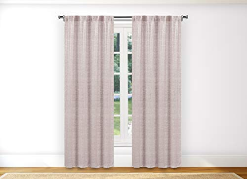 - Kelvin Maddyson Pole Top Metallic Textured Blackout Room Darkening Window Curtain Pair Drape for Living Room & Bedroom Set of 2 Panels, 38 X 96 Inch, Blush