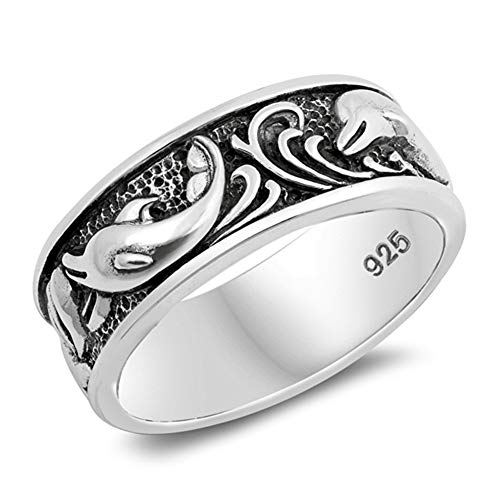 Oxidized Dolphin Wave Playing Animal Ring .925 Sterling Silver Band Size - Style Dolphin Ring Band