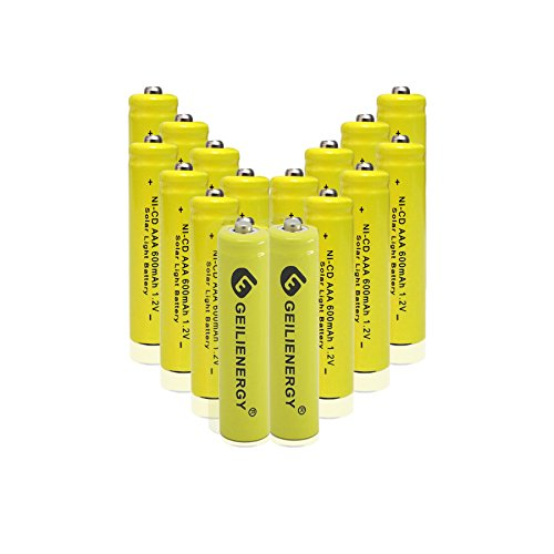GEILIENERGY NiCd AAA 1.2V 600mAh Triple A Rechargeable Batteries for Solar Light Lamp Yellow Color (Pack of 16)
