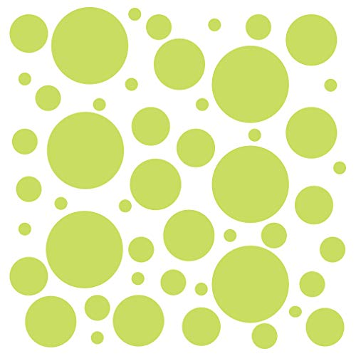 Set of 100 (Chartreuse) Vinyl Wall Decals - Assorted Polka Dots Stickers - Removable Adhesive Safe on Smooth or Textured Walls - Round Circles - for Nursery, Kids Room, Bathroom Decor
