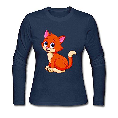 Kitten Long Sleeved T-shirt - Qear Kitten Women's Long-Sleeved Round Neck T-Shirts Navy M