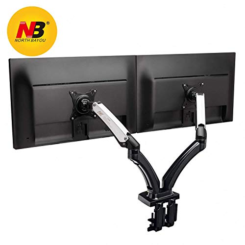 North Bayou Dual Monitor Desk Mount Stand Full Motion Swivel Computer Monitor Arm Gas Spring fits 2 Screens up to 27'' 14.3lbs Each Monitor by NB North Bayou