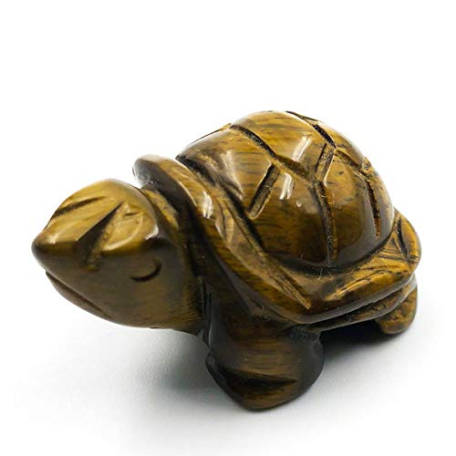 faovramulet Hand Carved Stone Turtle Tortoise Animal Figurine Pocket Statue Sculpture, Tiger's Eye Stone 1.5