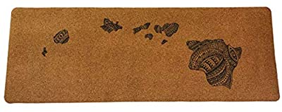 "808 Brand Cork Yoga Non-Slip MAT + Free Carrying Bag and Yoga Strap, Durable Rubber Layer, Biodegradable Anti-Microbial Non-Toxic Material, Hawaiian Island Design, Comfortable 5mm Thick, (72"" x 24"")"