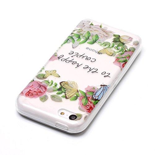 Coque iPhone 5C Fleurs et papillons Premium Gel TPU Souple Silicone Transparent Clair Bumper Protection Housse Arrière Étui Pour Apple iPhone 5C + Deux cadeau