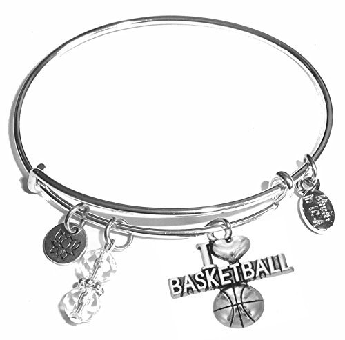 (Message Charm (46 words to choose from) Expandable Wire Bangle Bracelet, in the popular style, COMES IN A GIFT BOX! (I Love Basketball) )