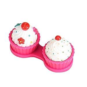 Lookatool Cute Cartoon Cake Cream Shape Contact Lens Case Box Set Holder (Hot pink)