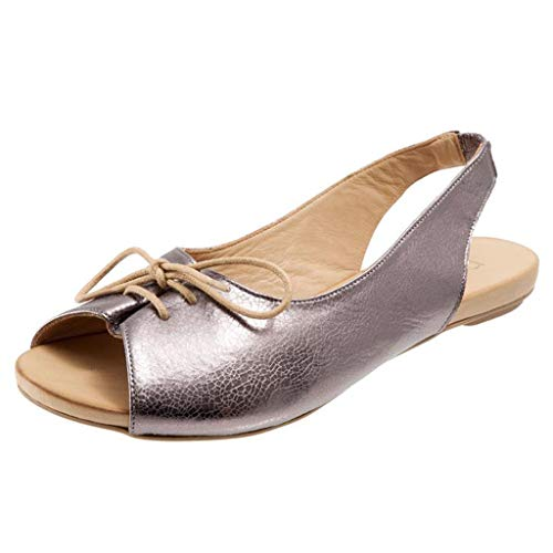 Women Fashion Vintage Casual Peep Toe Slingback Flat Sandals Lace-up Roman Shoes Fish Mouth Beach Sandals by Lowprofile Silver