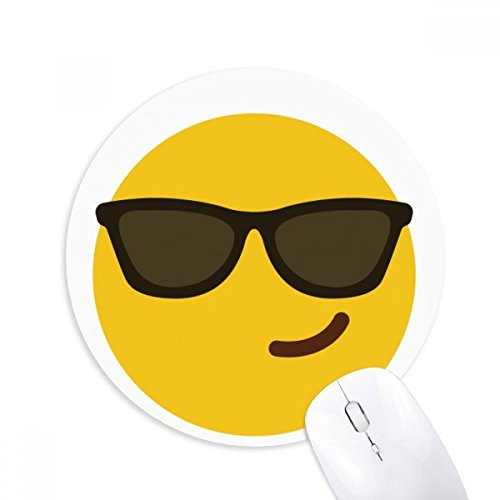 Sunglass Cool Yellow Cute Online Chat Round Non-Slip Rubber Mousepad Game Office Mouse Pad - Sunglass Online