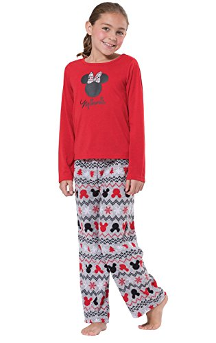 PajamaGram Big Girls Christmas Pajamas - Minnie Mouse Pajamas, Red, Girls, 14]()