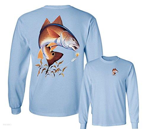 - Redfish Lure Fishing Long Sleeve T-Shirt, Light Blue, XL
