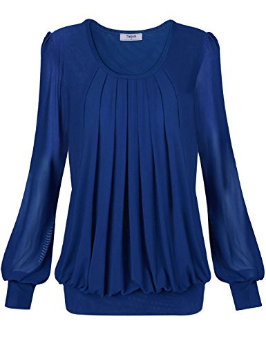 Timeson Womens Scoop Neck Pleated Front Fitted Fit and