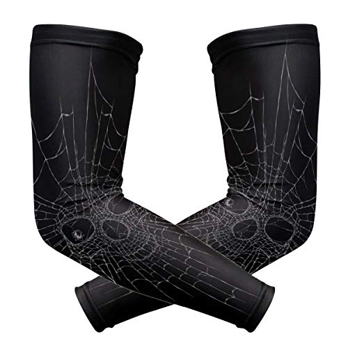 NQEONR Arm Guard for Men Black Dark Horror Line Spider Web Print Ice Silk Arm Guards for Men Mens Sun Protection Sleeves Quick-Drying&Breathable Surgical Arm Sleeves for Unisex Outdoor ()